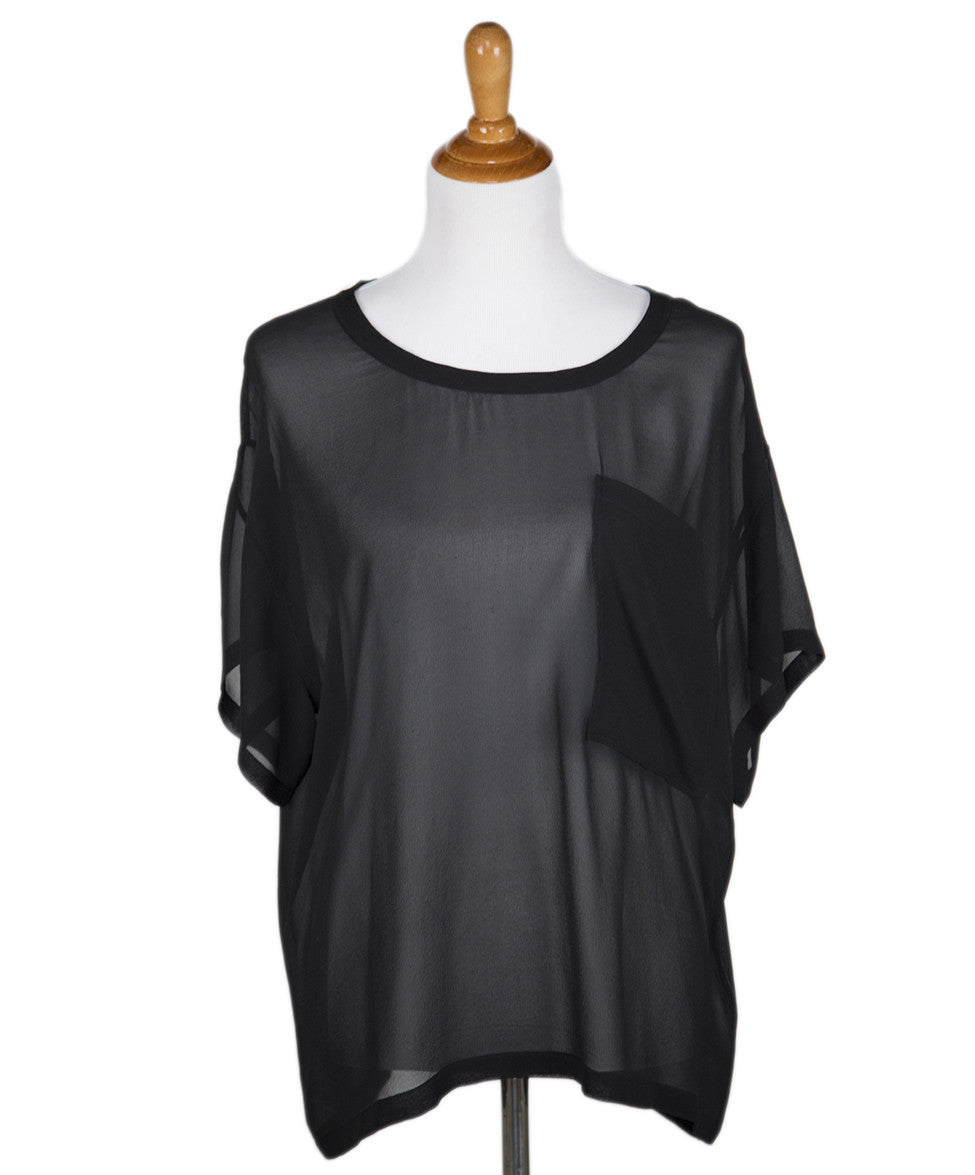 Helmut Lang Black Sheer Rayon Top Sz Large - Michael's Consignment NYC  - 1