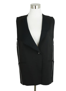 Helmut Lang Black Wool White Trim Vest 1