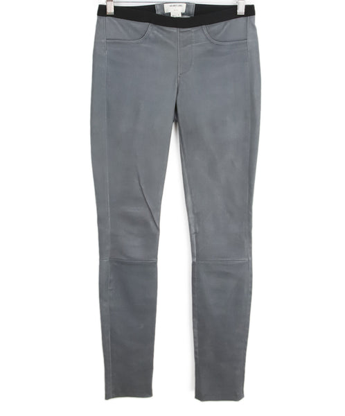 Helmut Lang Grey Leather Pants 1