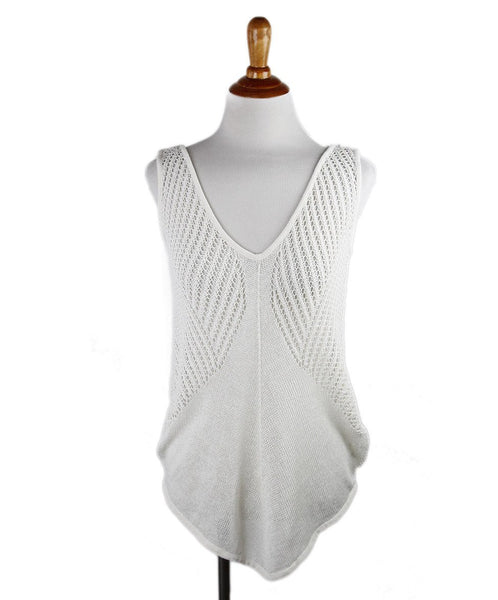Helmut Lang White Crocheted Linen Top Sz Small