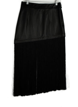 Helmut Lang Black Leather Fringe Skirt 1