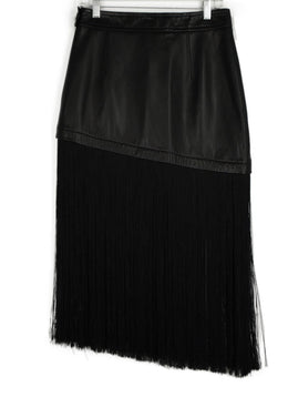 Helmut Lang Black Leather Fringe Skirt 2