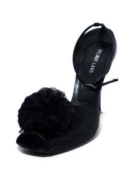 Helmut Lang Black Leather Tulle Flower Trim Heels 1