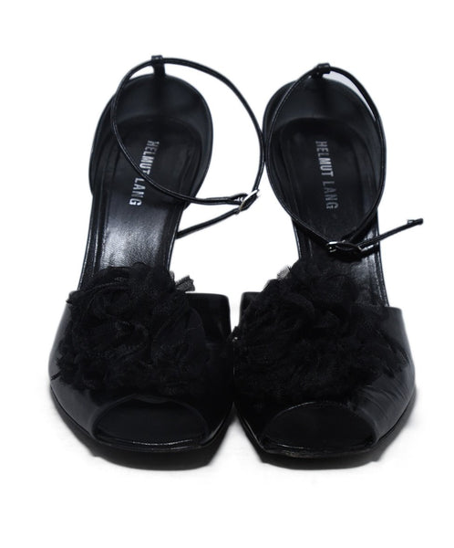 Helmut Lang Black Leather Tulle Flower Trim Heels 4