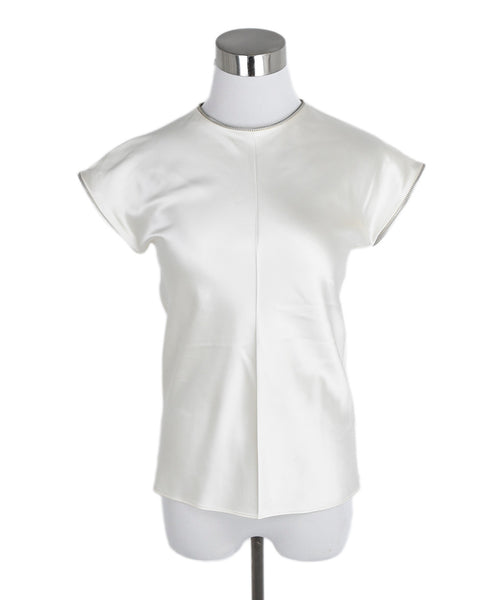 Helmut Lang Ivory Silk Zipper Trim Top 1