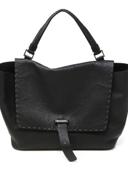 Henry Beguelin Black Grained Leather Magnets Handbag 1