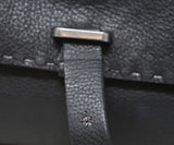 Henry Beguelin Black Grained Leather Magnets Handbag 8