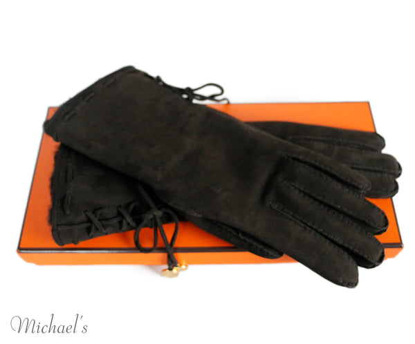 Hermes Brown Suede Fur Gloves