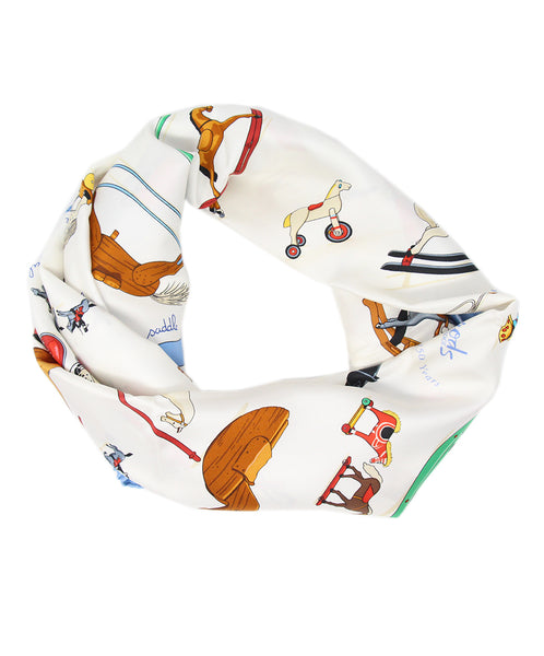 Hermes 150 Years Harrods White Blue Silk Scarf 1