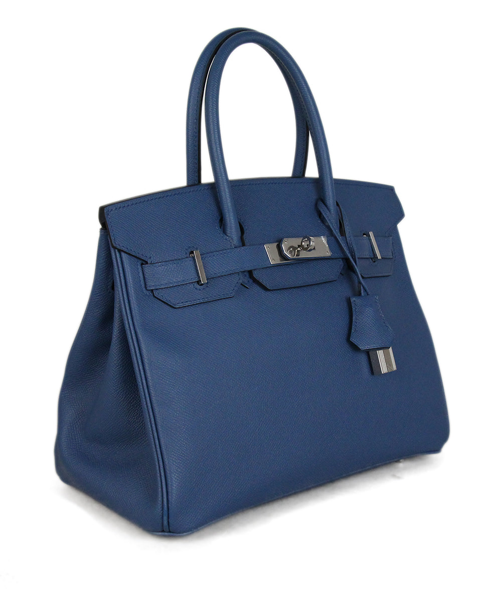 81c70e0a9665 Silver Hardware Hermes Blue Leather W Lock   Key W Dust Cover ...