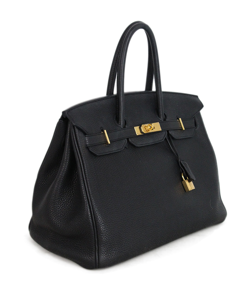Hermes 35 cm 2010 Black Leather Birkin Bag 2