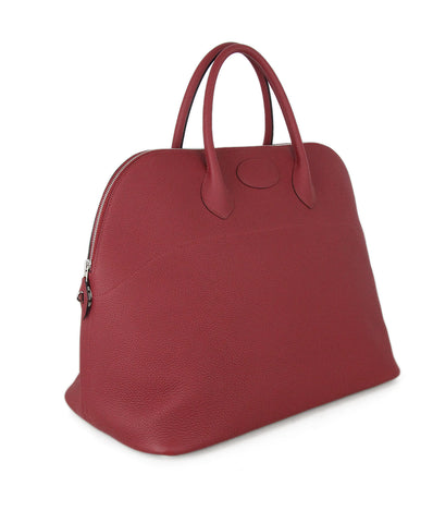 Hermes 45cm Travel Bolide Red Wine Leather Bag 1