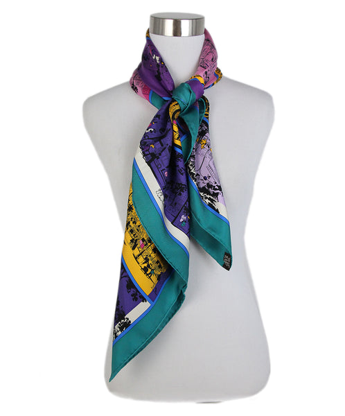 Hermes A Lombre Des Boulevards green yellow purple scarf 3