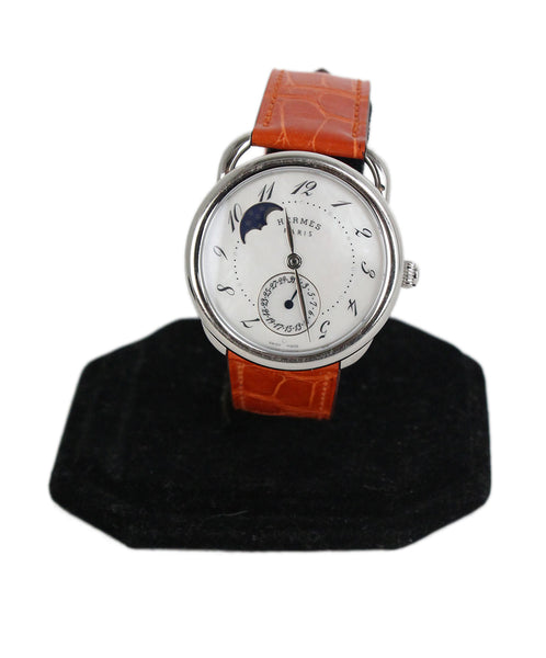 Hermes Arceau Petite Lune orange alligator Watch 1
