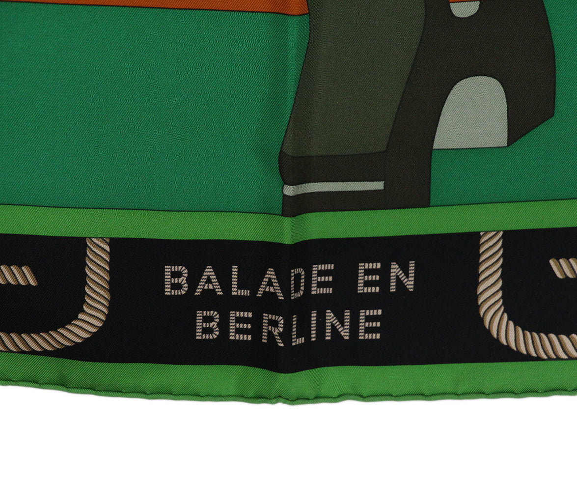 Hermes Balade En Berline green orange black scarf 7
