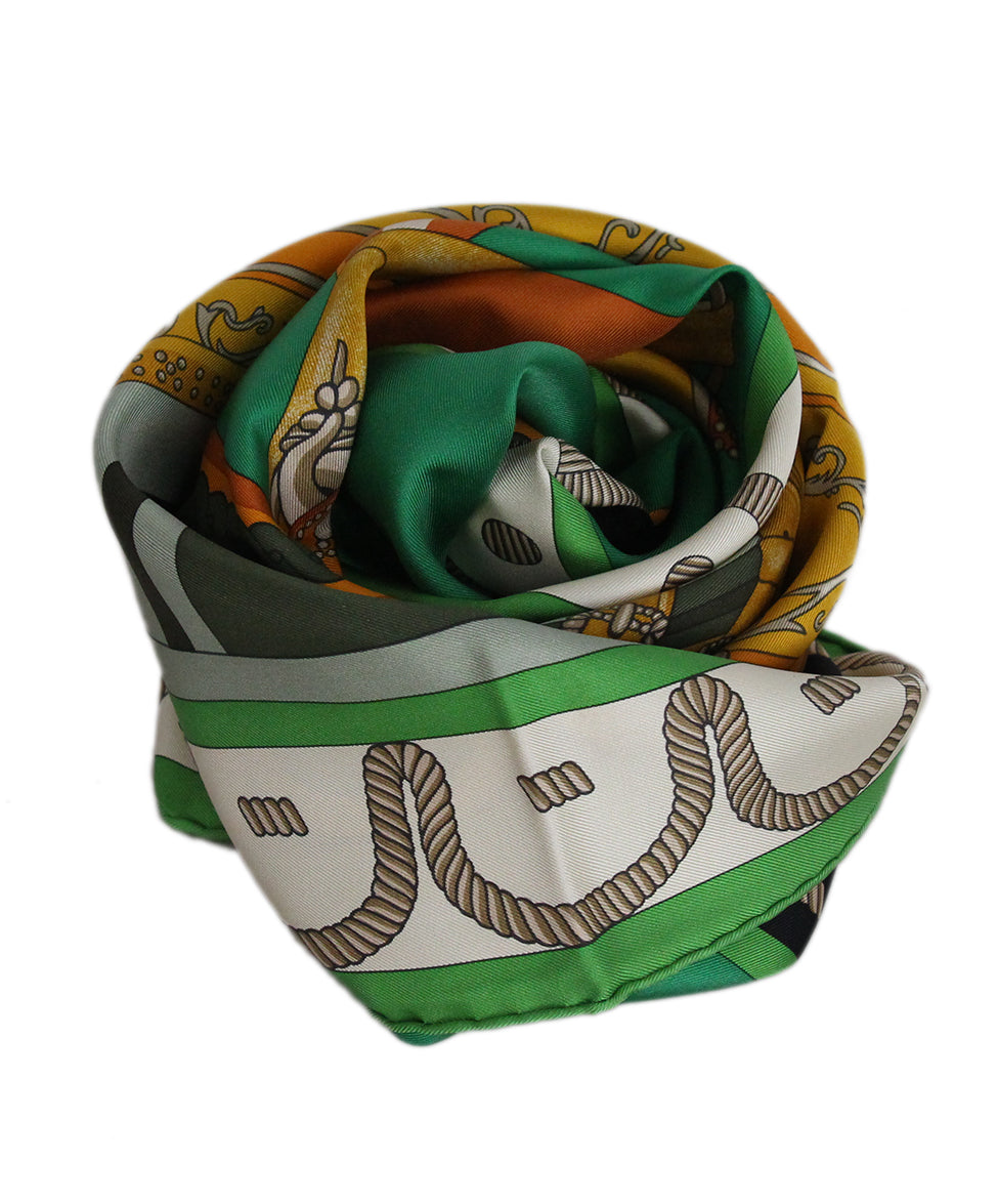 Hermes Balade En Berline green orange black scarf 4