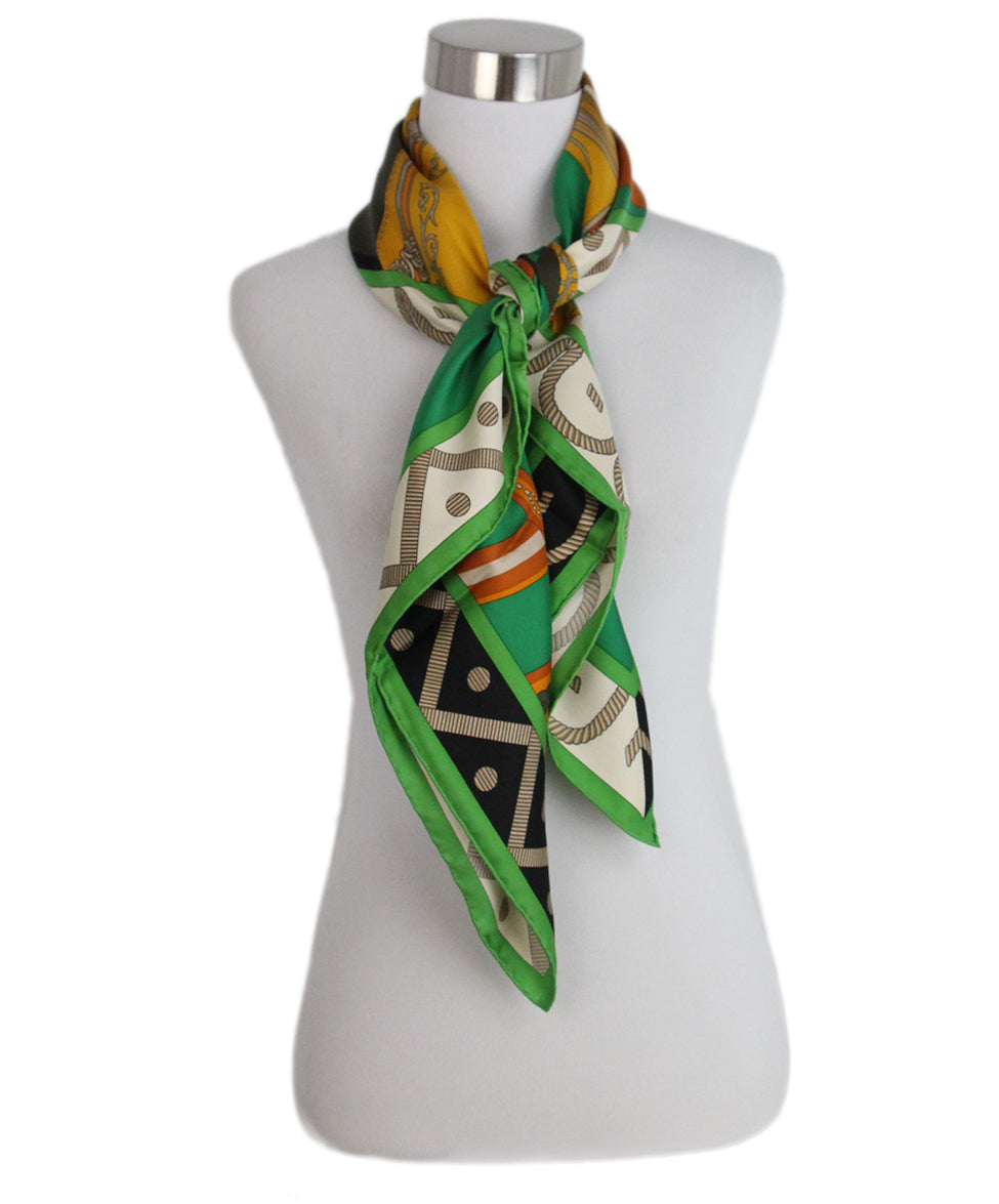 Hermes Balade En Berline green orange black scarf 2