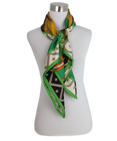 Hermes Balade En Berline green orange black scarf 3