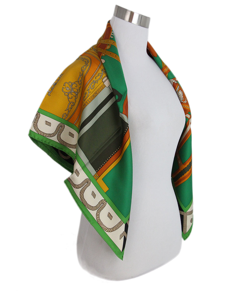 Hermes Balade En Berline green orange black scarf 1