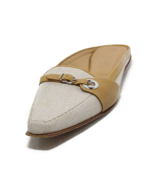 Hermes Beige linen tan leather mules 1