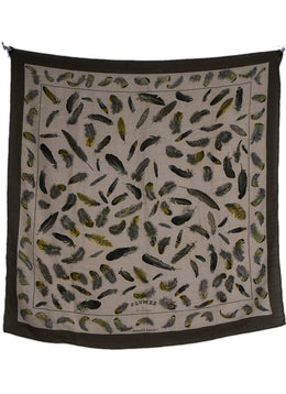 Hermes Beige Olive Cashmere Silk Feathers Scarf 1