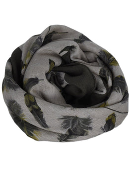 Hermes Beige Olive Cashmere Silk Feathers Scarf 2