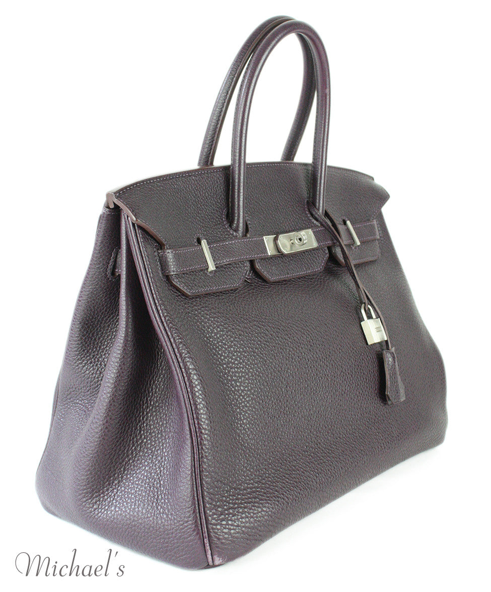 Hermes Birkin Raisin Grained Leather Bag - Michael's Consignment NYC  - 2