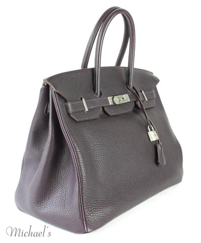 Hermes Birkin Raisin Grained Leather Bag - Michael's Consignment NYC  - 1