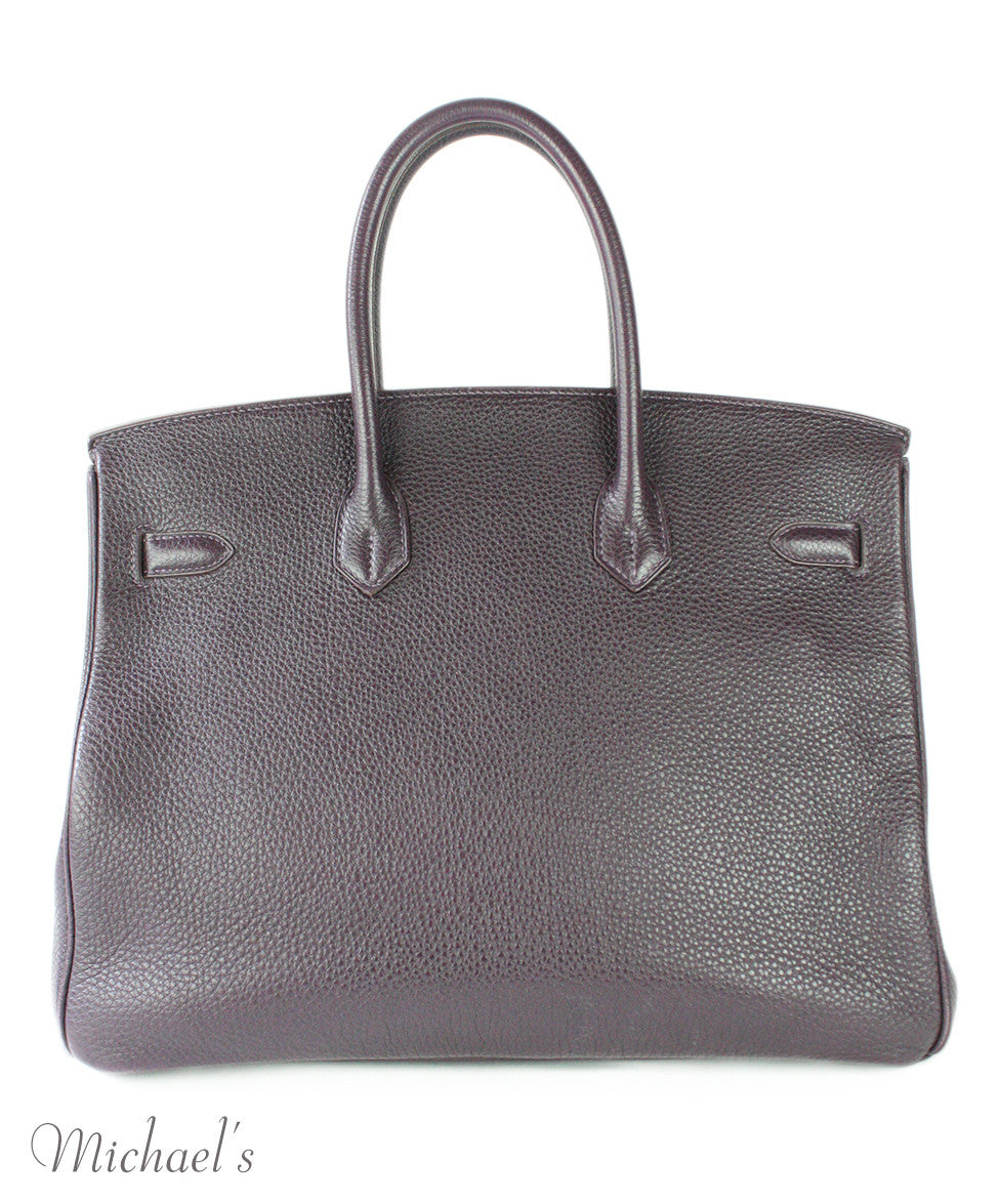 Hermes Birkin Raisin Grained Leather Bag - Michael's Consignment NYC  - 3