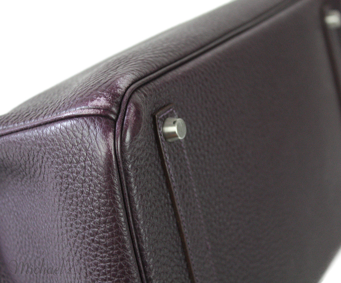 Hermes Birkin Raisin Grained Leather Bag - Michael's Consignment NYC  - 5