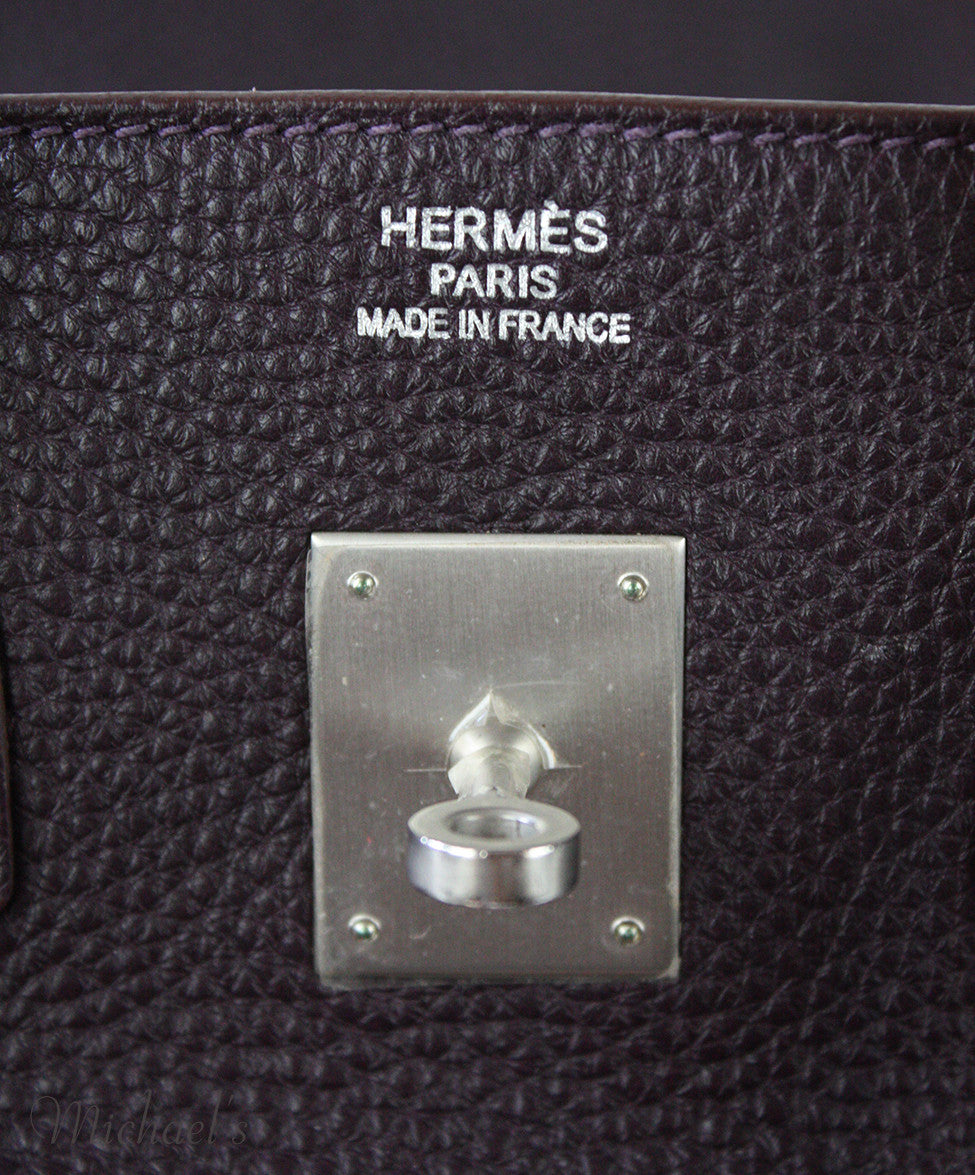 Hermes Birkin Raisin Grained Leather Bag - Michael's Consignment NYC  - 9