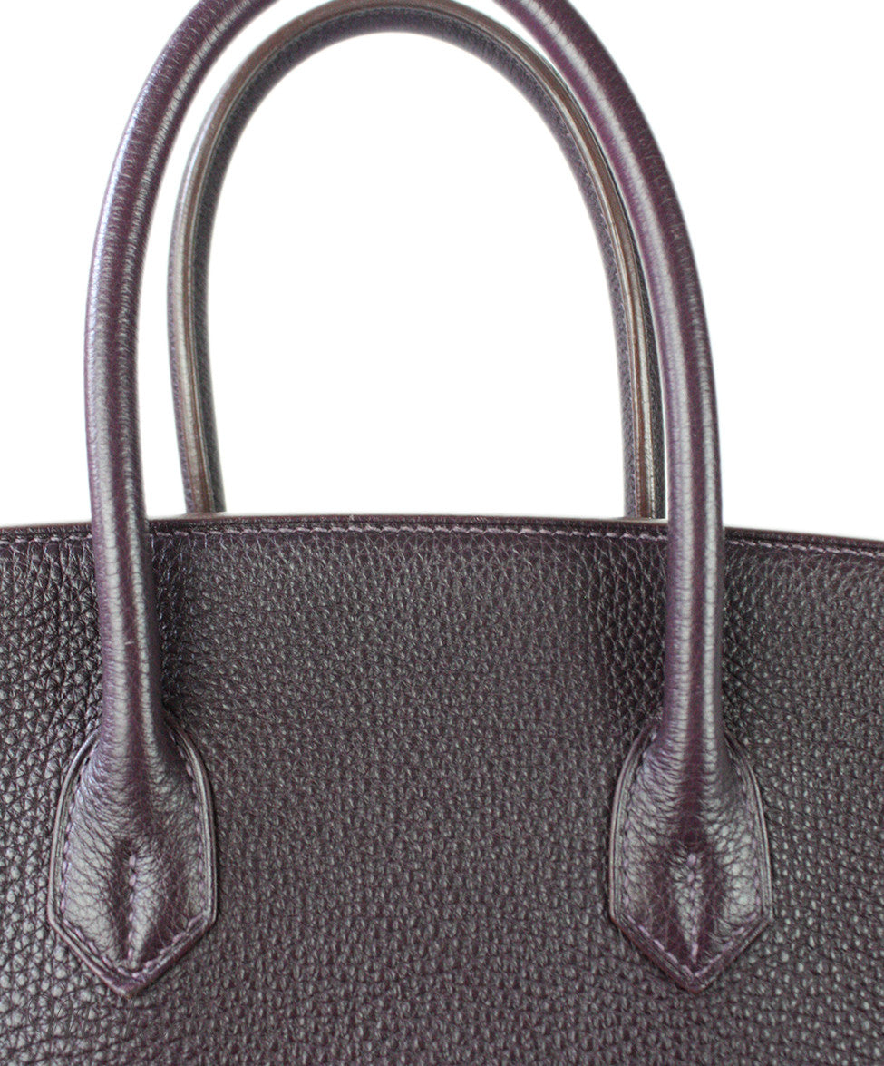 Hermes Birkin Raisin Grained Leather Bag - Michael's Consignment NYC  - 12