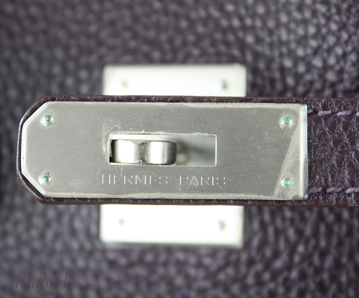 Hermes Birkin Raisin Grained Leather Bag - Michael's Consignment NYC  - 15