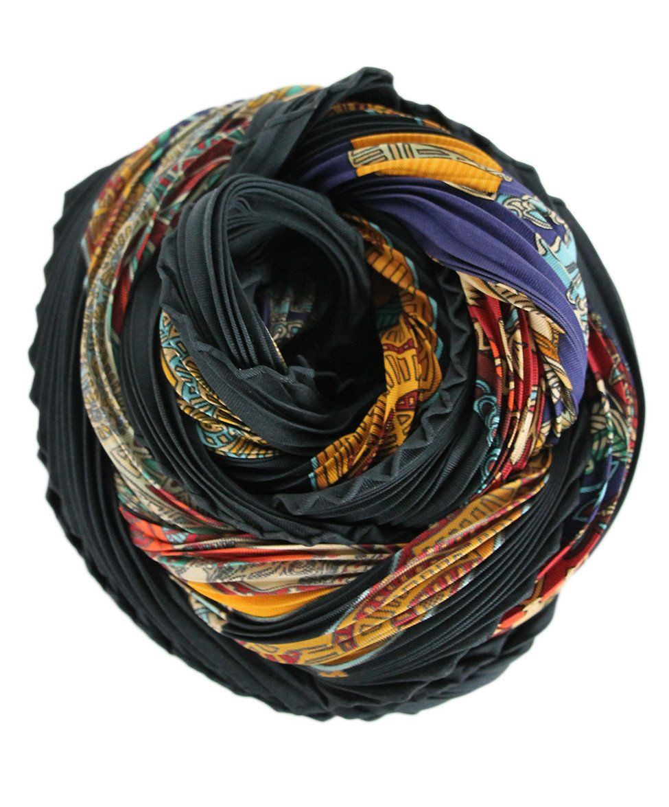 Hermes Black Burgundy Silk Multi Pleated Scarf - Michael's Consignment NYC  - 1