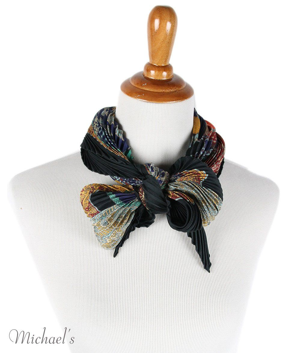Hermes Black Burgundy Silk Multi Pleated Scarf - Michael's Consignment NYC  - 3