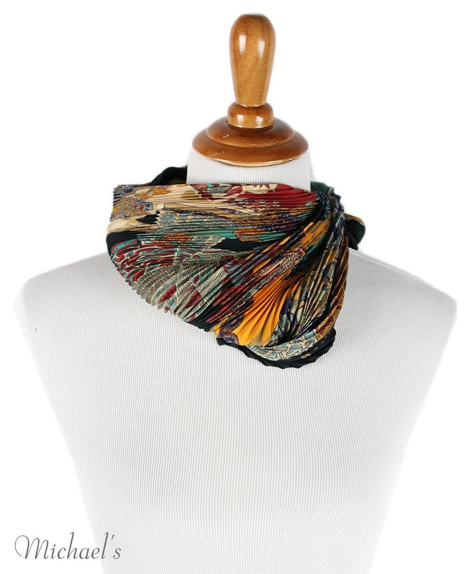Hermes Black Burgundy Silk Multi Pleated Scarf - Michael's Consignment NYC  - 4