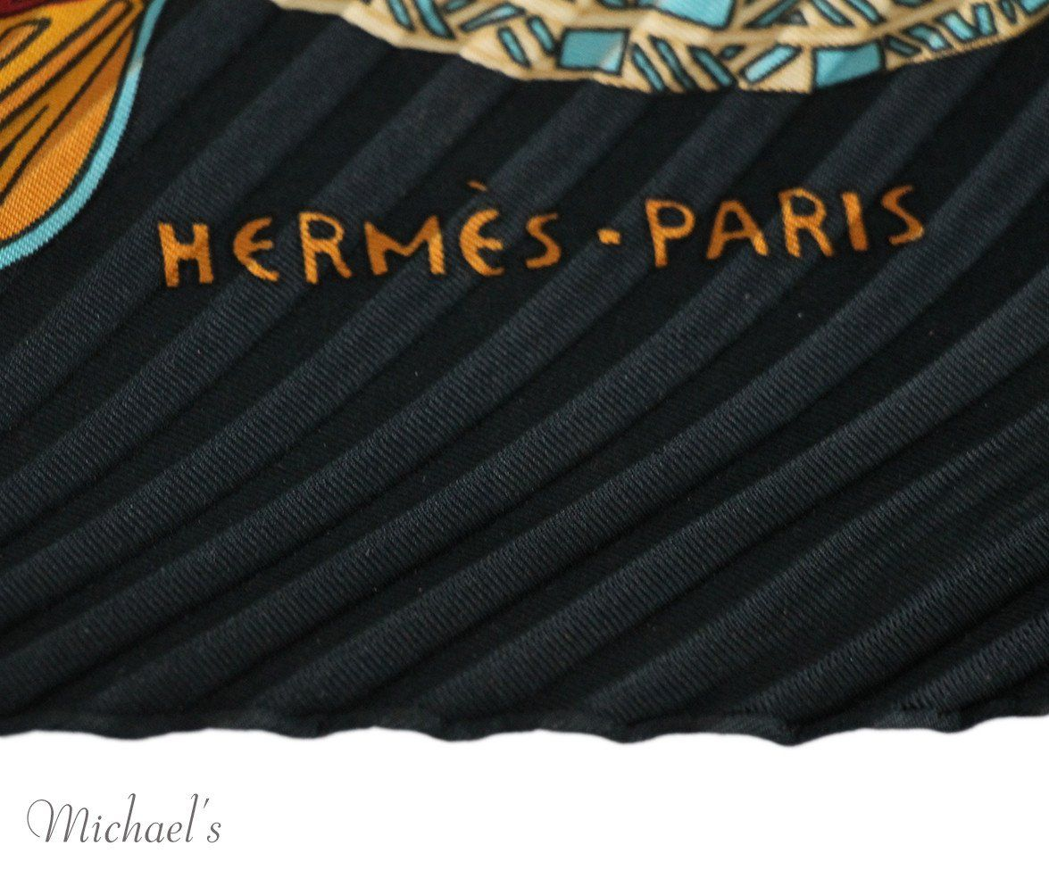 Hermes Black Burgundy Silk Multi Pleated Scarf - Michael's Consignment NYC  - 5