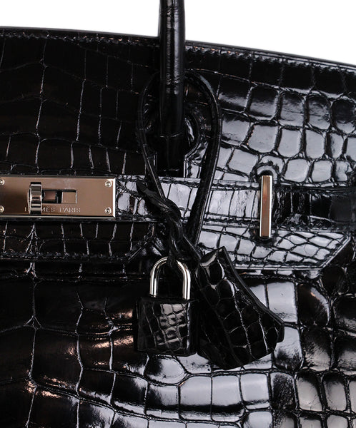 Hermes Black Crocodile 30cm Birkin Bag 9