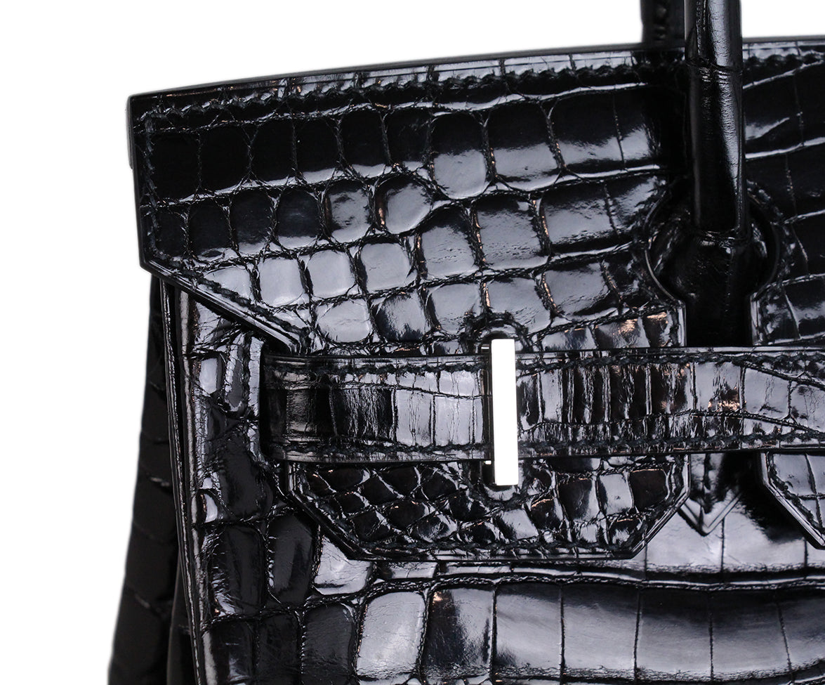Hermes Black Crocodile 30cm Birkin Bag 10