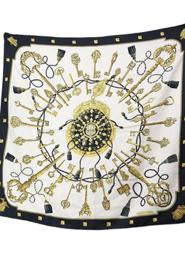 Hermes Black Gold Key Print Silk Scarf 1