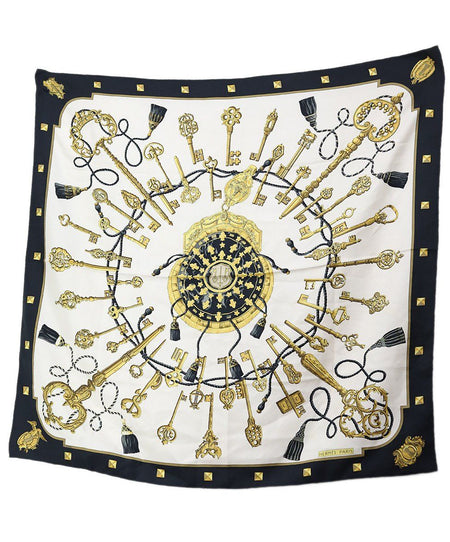 Hermes White Navy Gold Silk Red Scarf