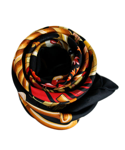 Hermes Black Gold Red Print Silk Scarf