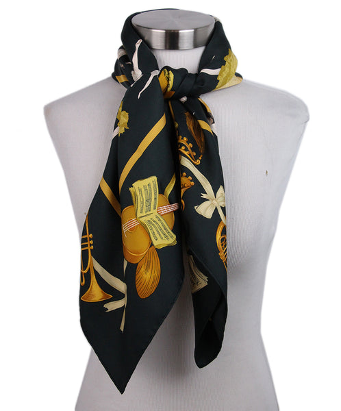 Hermes Black Gold Silk Scarf 2