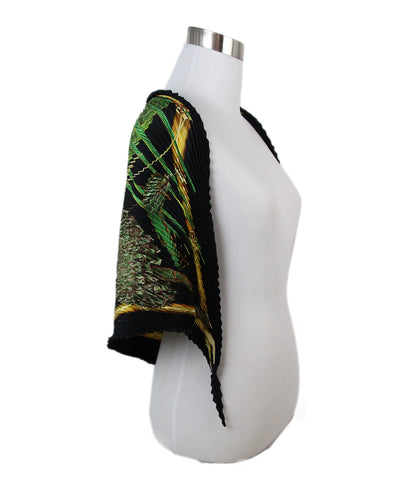 Hermes Black Green Print Pleated Scarf 2