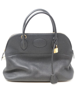Hermes Black Leather 31cm Bolide Bag