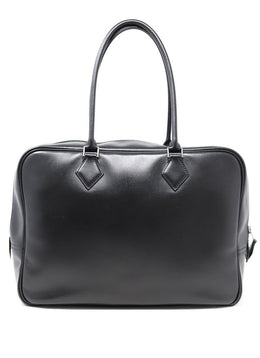 "Hermes Black Leather 32"" Plume Handbag"