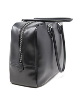 "Hermes Black Leather 32"" Plume Handbag 1"