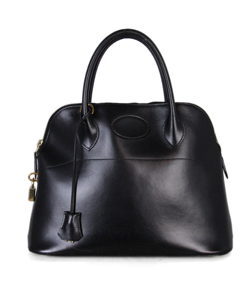 Hermes Black Leather 35cm Bollide Bag 1