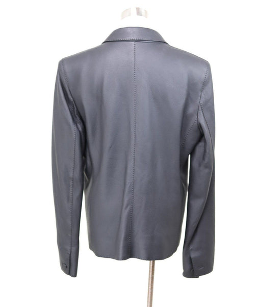 Hermes Black Leather Jacket Sz 12