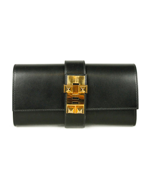 Hermes Black Leather Clutch